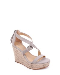 a7ca95efa4 Grey Suede Wedge Sandals for Women | Women's Fashion | Lookastic.com