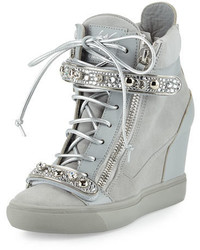 For jennifer lopez tiana crystal high top wedge sneaker gray medium 3650790
