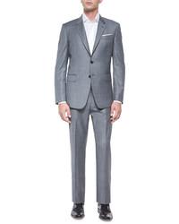 Paul Smith Bayard Sharkskin Two Piece Wool Suit Gray