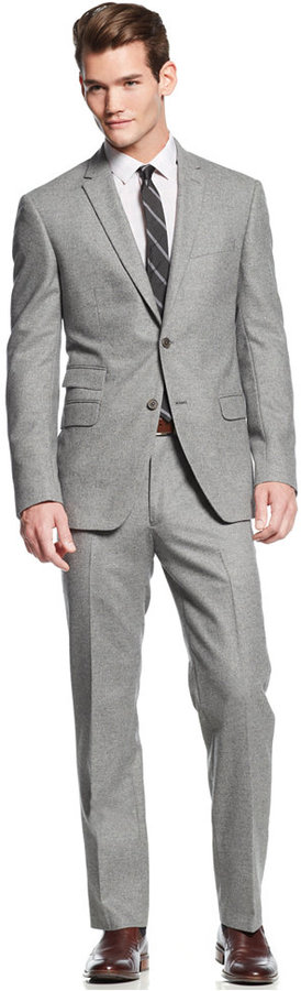 DKNY Light Grey Donegal Extra Slim Fit Suit | Where to buy & how