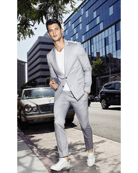 Express Slim Photographer Oxford Cloth Gray Suit Pant