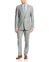 Ike Behar Two Button Side Vent Wool Suit With Flat Front Pant
