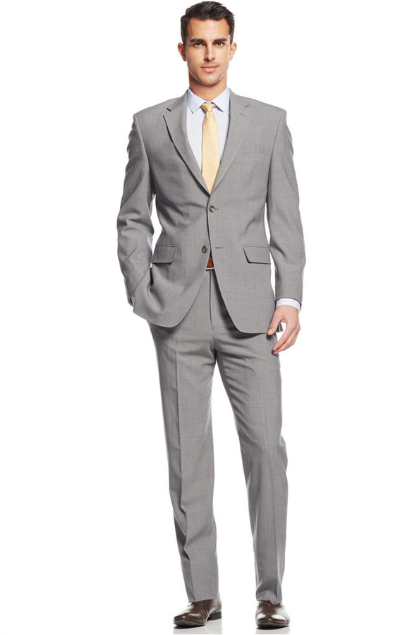 Jones New York Light Grey Plaid Athletic Fit Suit | Where to buy & how ...