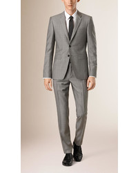Burberry Slim Fit Subtle Check Wool Half Canvas Suit
