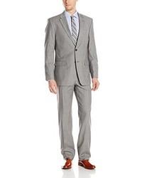 Tommy Hilfiger Vasser Sharkskin 2 Button Side Vent Suit Light Grey Regular