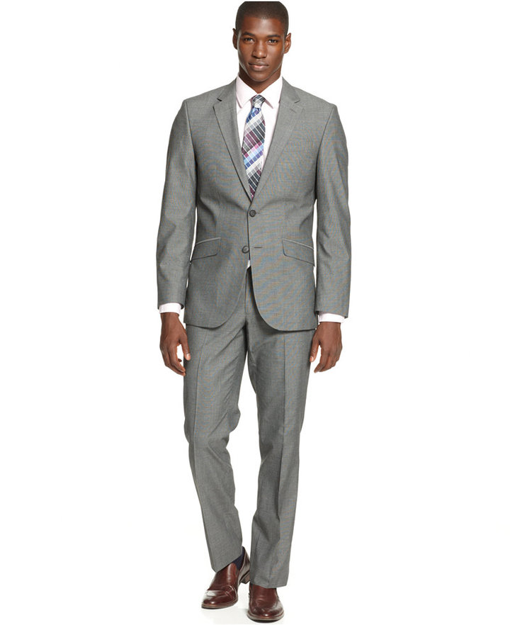 Kenneth Cole Unlisted By Mid Grey Pindot Slim Fit Suit | Where to ...