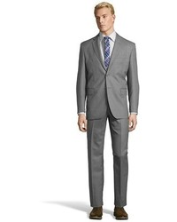 Saint Laurent Yves Grey Striped Super 120s Wool 2 Button Suit With Flat Front Pants