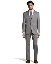 Saint Laurent Yves Grey Twill Wool 2 Button Suit With Flat Front Pants