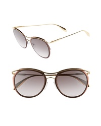 Alexander McQueen 54mm Gradient Round Sunglasses