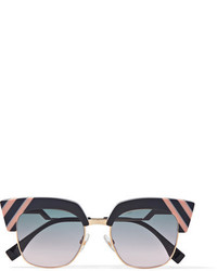 Fendi Cat Eye Acetate And Gold Tone Sunglasses Dark Gray