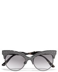 Bottega Veneta Cat Eye Acetate And Intrecciato Leather Sunglasses Gray