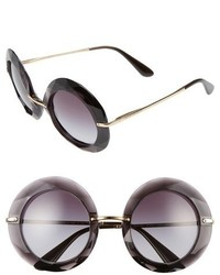 Dolce & Gabbana Dolcegabbana 50mm Round Sunglasses Transparent Blue
