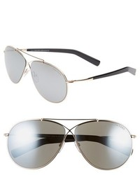 Eva 61mm aviator sunglasses rose gold grey mirror silver medium 185093
