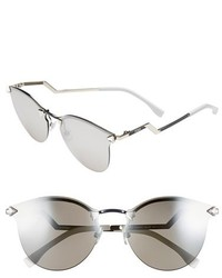 Fendi 60mm Retro Sunglasses Palladium Silver Mirror