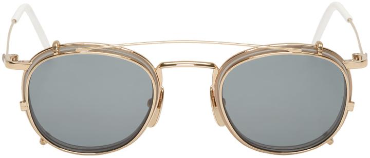 8d23445cf7 Thom Browne Grey 12k Gold Clip On Glasses, $775 | SSENSE | Lookastic.com