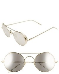 Linda Farrow 51mm Oval Sunglasses Rose Gold