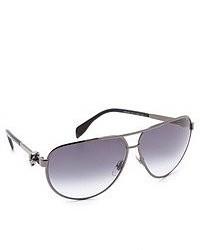 Alexander McQueen Metal Aviator Sunglasses With Skulls