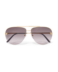 Cartier Eyewear Panthre Aviator Style Gold Plated Sunglasses