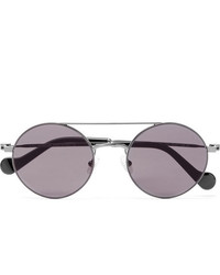 Moncler Round Frame Gunmetal Tone Sunglasses