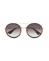 Gucci Round Frame Striped Acetate And Gold Tone Sunglasses