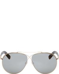 Tom Ford Silver Dark Grey Aviator Sunglasses