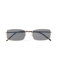 Saint Laurent Square Frame Silver Tone Sunglasses