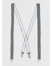 Topman Grey Marl Striped Suspenders