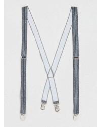 Topman Grey Marl Striped Suspenders