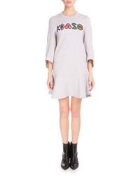 Kenzo 34 Sleeve Logo Sweatshirt Dress Light Gray