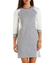 Charlotte Russe Quilted Zipper Trim Sweatshirt Dress