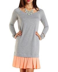 Charlotte Russe Chiffon French Terry Sweatshirt Dress
