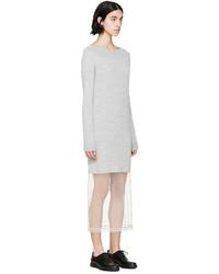 fefca6bb26e ... Maison Margiela Grey Knit Tulle Sweater Dress ...