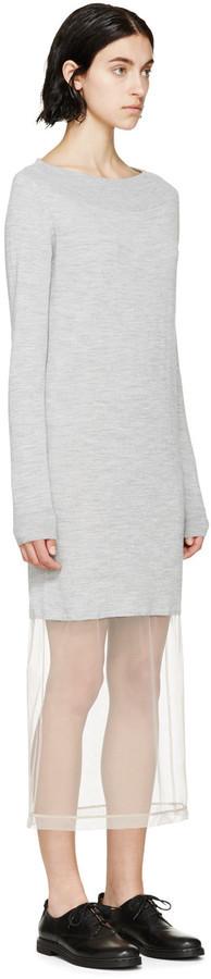 655d3af74df Maison Margiela Grey Knit Tulle Sweater Dress
