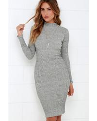 LuLu*s I Mist You Heather Grey Midi Sweater Dress