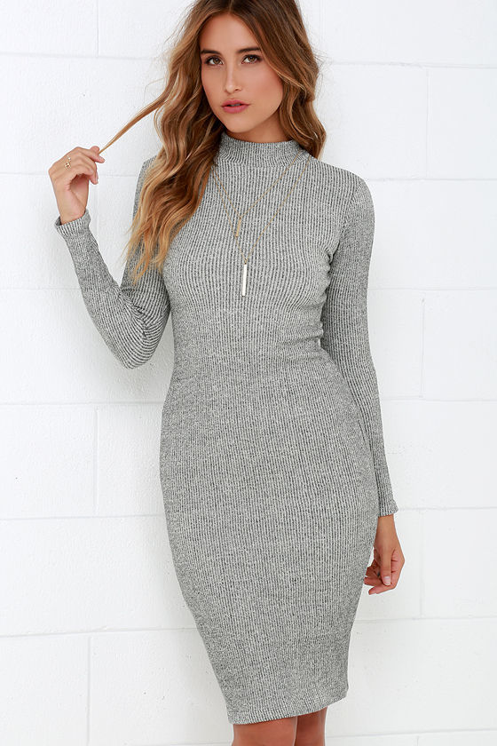 c0b5d5987df $59, LuLu*s I Mist You Heather Grey Midi Sweater Dress