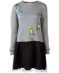 RED Valentino Sequined Bird Sweater Dress