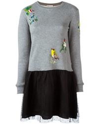 RED Valentino Sequined Bird Sweater Dress
