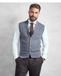 Brooks Brothers Golden Fleece 3 D Knit Cashmere Shawl Collar Sweater Vest