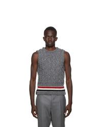 Thom Browne Grey Aran Cable Stripe Vest