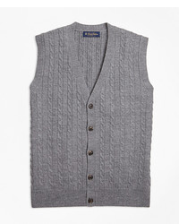 Brooks Brothers Merino Wool Cable Button Front Vest