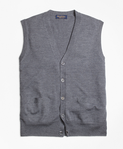 Brooks Brothers Saxxon Wool Button Front Sweater Vest | Where to ...