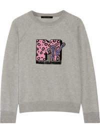 Marc Jacobs Appliqud Cotton Terry Sweatshirt Gray