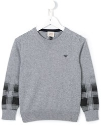 Armani Junior Contrast Cuff Jumper