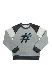 Armani Junior Faux Leather Cotton Sweatshirt