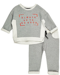 River Island Mini Boys Grey Sweater Joggers Co Ord Outfit