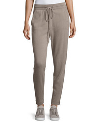 Neiman Marcus Cashmere Collection Chain Trim Cashmere Jogger Pants