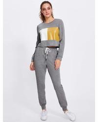Romwe Color Block Marled Sweatshirt Sweatpants Set