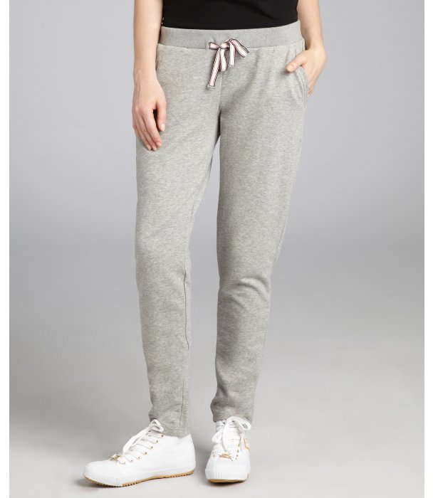... Moncler Heather Grey Cotton Blend Jersey Straight Leg Sweatpants