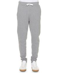Tomas Maier Lightweight Fleece Drawstring Sweatpants Gray
