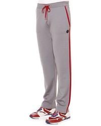 Stefano Ricci Red Striped Knit Sweatpants Gray